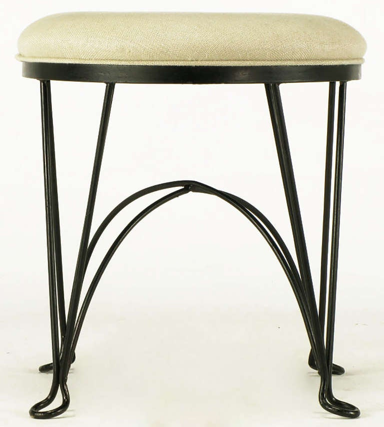 Pair of Round Wrought Iron and Linen Stools in the Style of Salterini For Sale 1