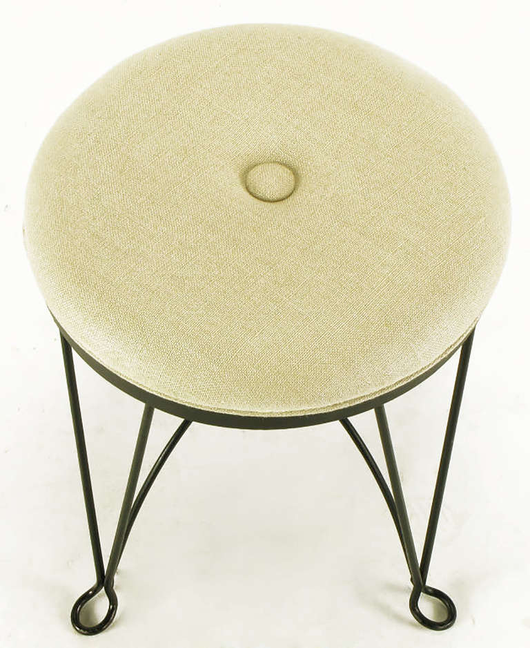 American Pair of Round Wrought Iron and Linen Stools in the Style of Salterini For Sale