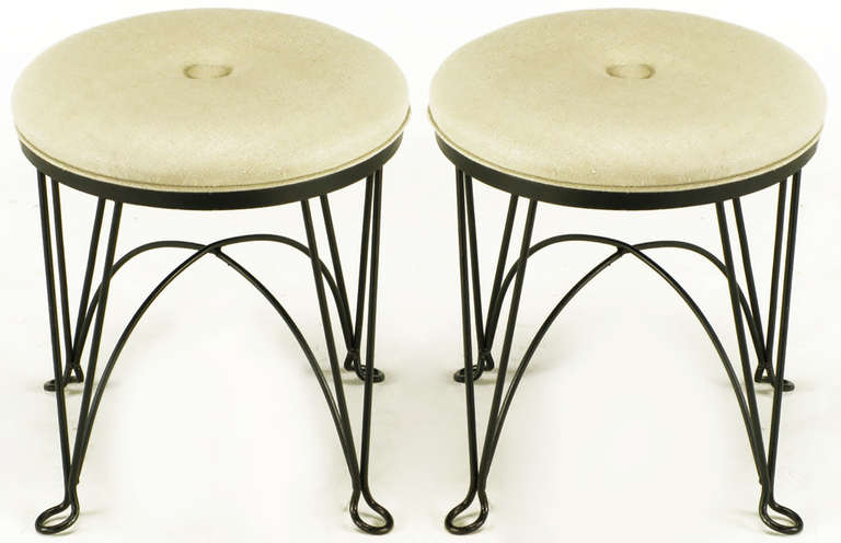 Mid-20th Century Pair of Round Wrought Iron and Linen Stools in the Style of Salterini For Sale