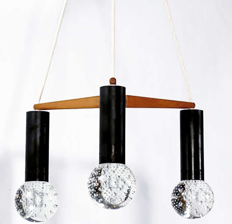 Three Light Seguso Solid Glass Spheres Chandelier 2