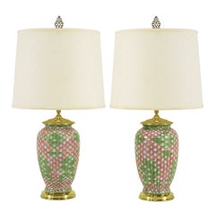 Pair Pink and Green Basketweave Ceramic Table Lamps