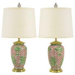Pair Pink and Green Basketweave Ceramic Table Lamps