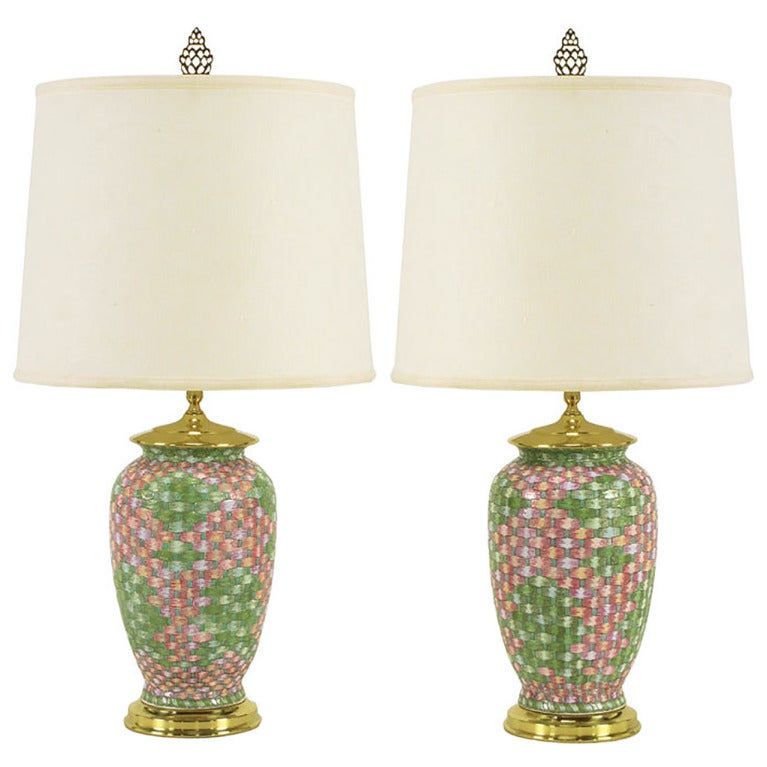 Pair Pink And Green Basketweave Ceramic Table Lamps At 1stdibs
