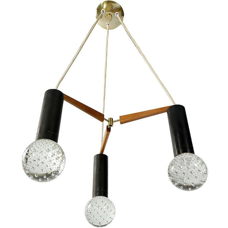 Three Light Seguso Solid Glass Spheres Chandelier 3