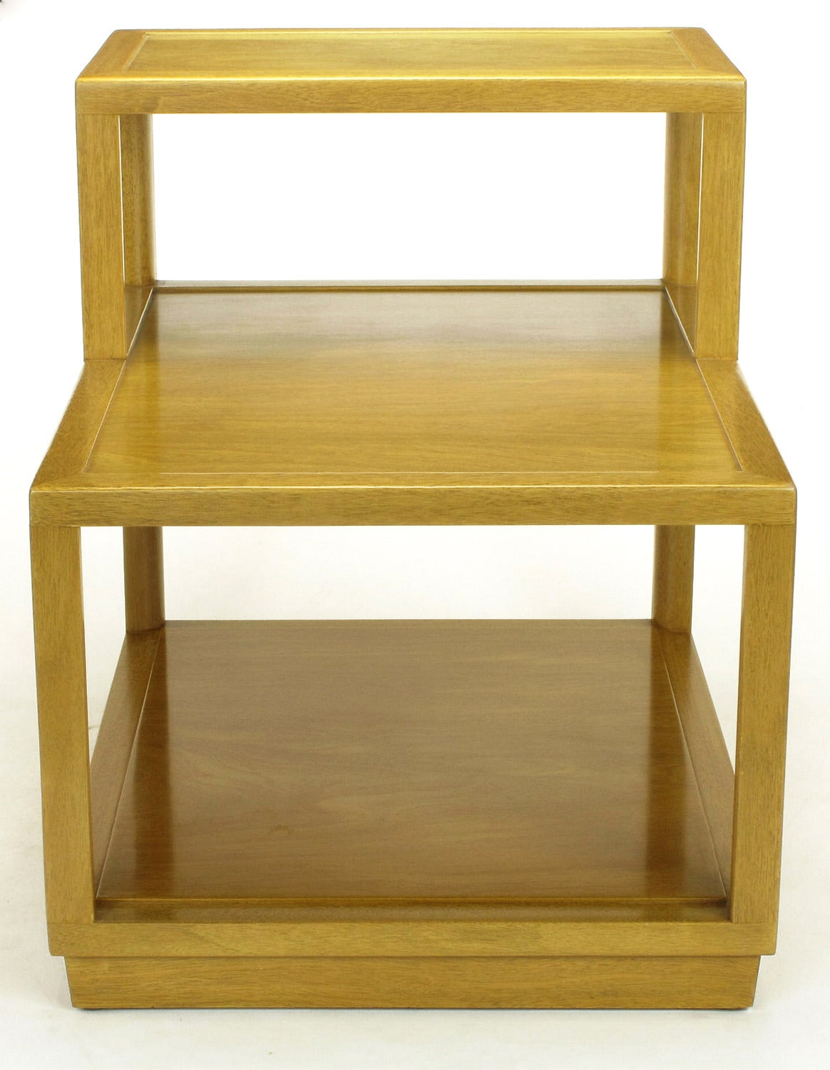 Edward Wormley for Dunbar Minimalist design bleached mahogany tiered end table number 4976. Nicely grained woods with open design and expert craftsmanship. See our listings for the matching corner table. Comes with custom flannel cover. First tier