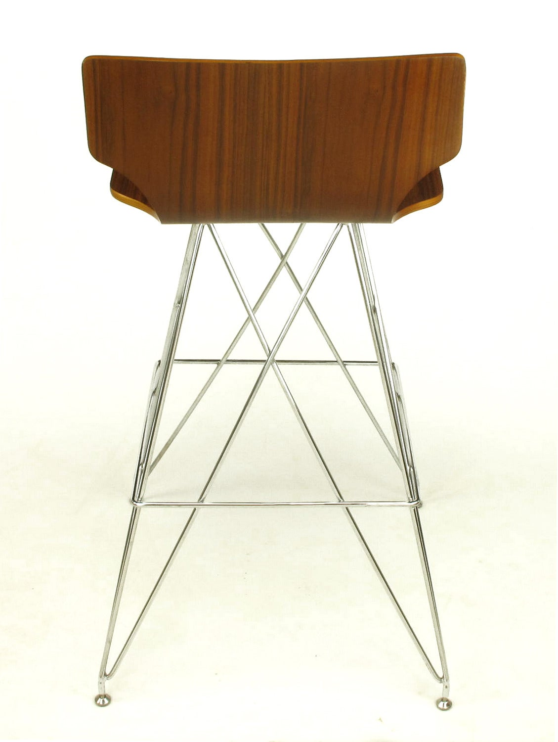 "Pair of ""Eiffel Tower"" Chrome and Bentwood Bar Stools 5"