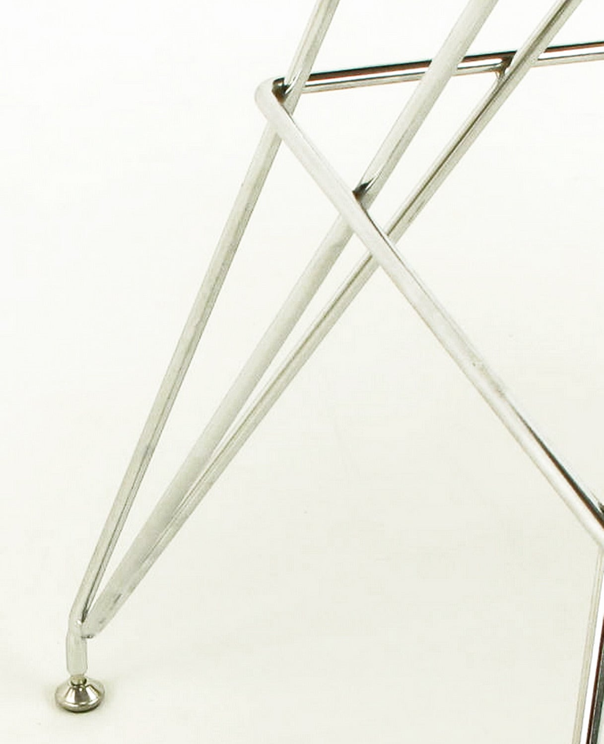 "Pair of ""Eiffel Tower"" Chrome and Bentwood Bar Stools 10"
