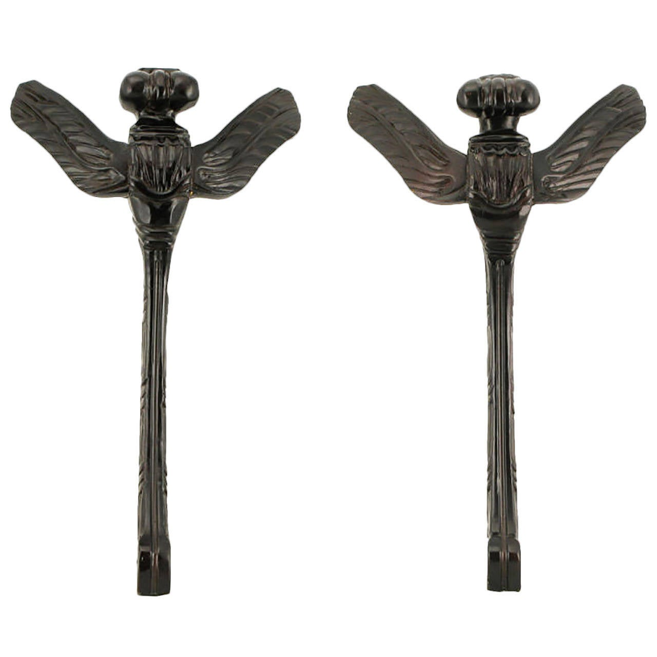 Pair of Stylized Dragonfly Ebonized Wood Wall Sculptures For Sale