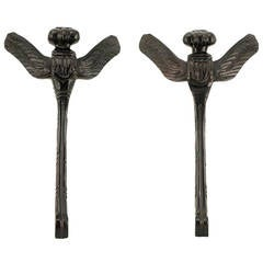 Pair of Stylized Dragonfly Ebonized Wood Wall Sculptures