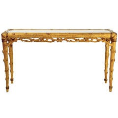Faux Bois Carved Wood and Glass Console Table
