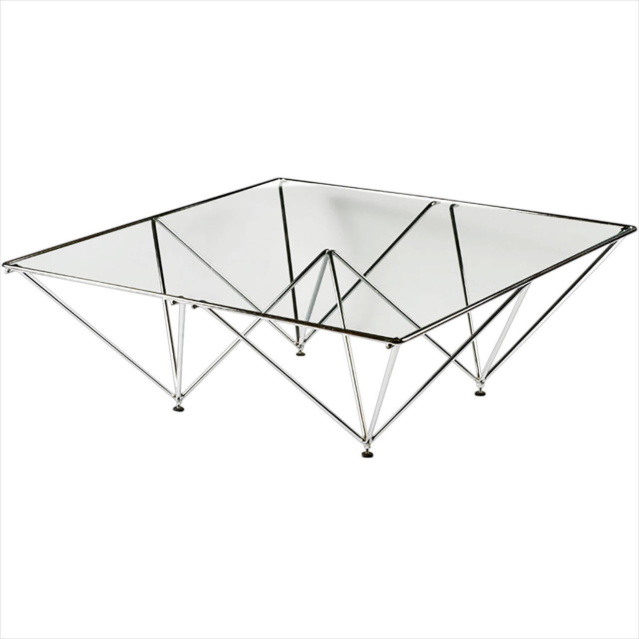 Chromed Steel Pyramidal Base Coffee Table after Paolo Piva