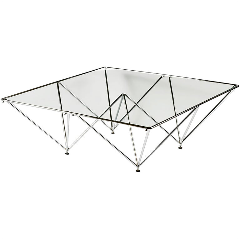 Chromed Steel Pyramidal Base Coffee Table after Paolo Piva For Sale