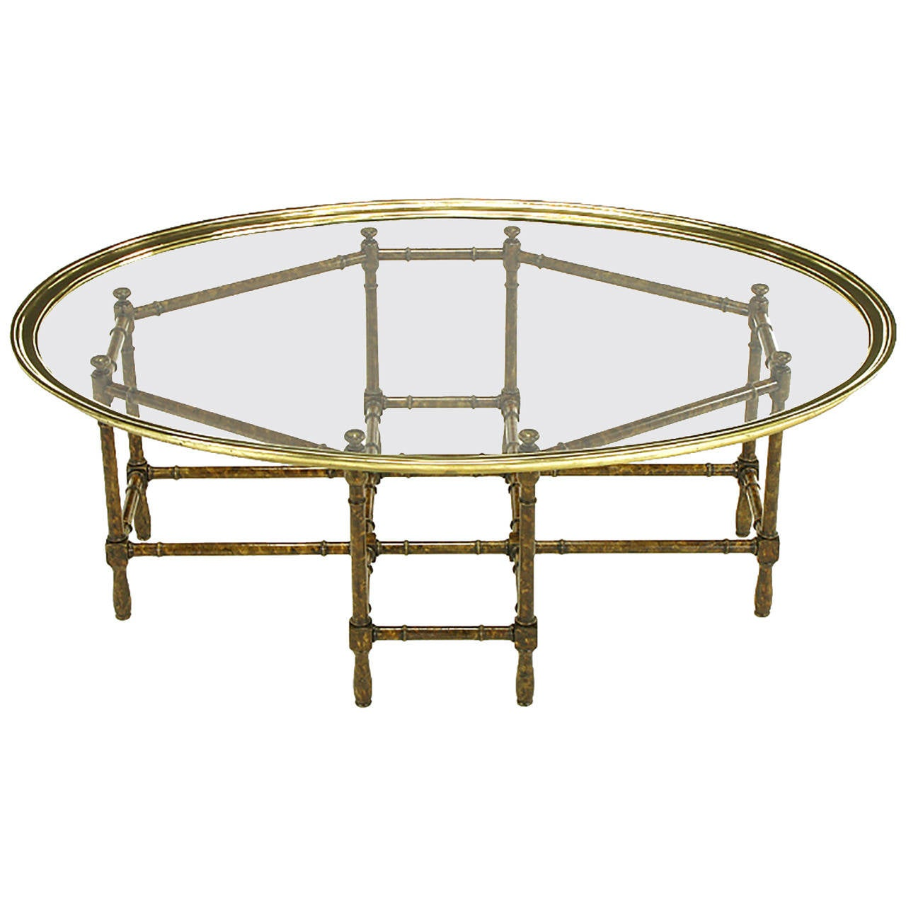 Bamboo Tortoise Coffee Table: Baker Tortoise Shell Lacquered Stylized Bamboo And Oval