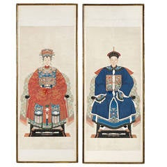 Pair of Chinese Ancestor Portraits in Gilt Bamboo Form Frames
