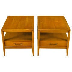 Pair of Drexel Bleached Walnut and Mahogany End Tables with Burled Olive Accent