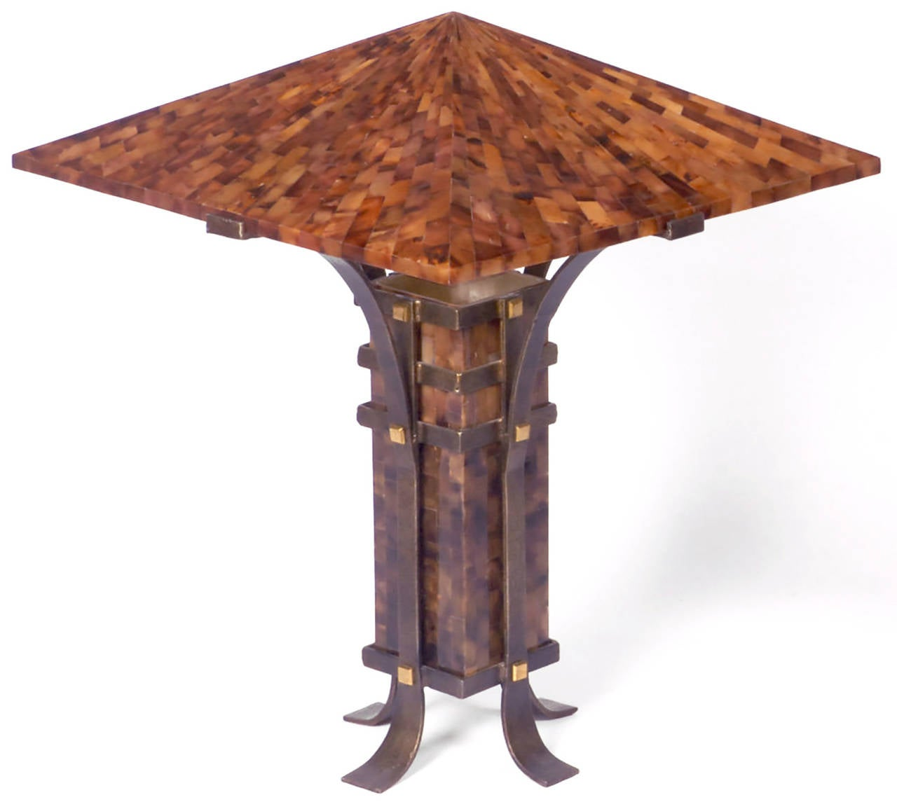 Constructed of tessellated Horn over translucent reinforced resin, cradled in hand-wrought iron bases, ornamented with square brass studs. Single socket illumination from body reflecting upward. Made by Maitland-Smith.