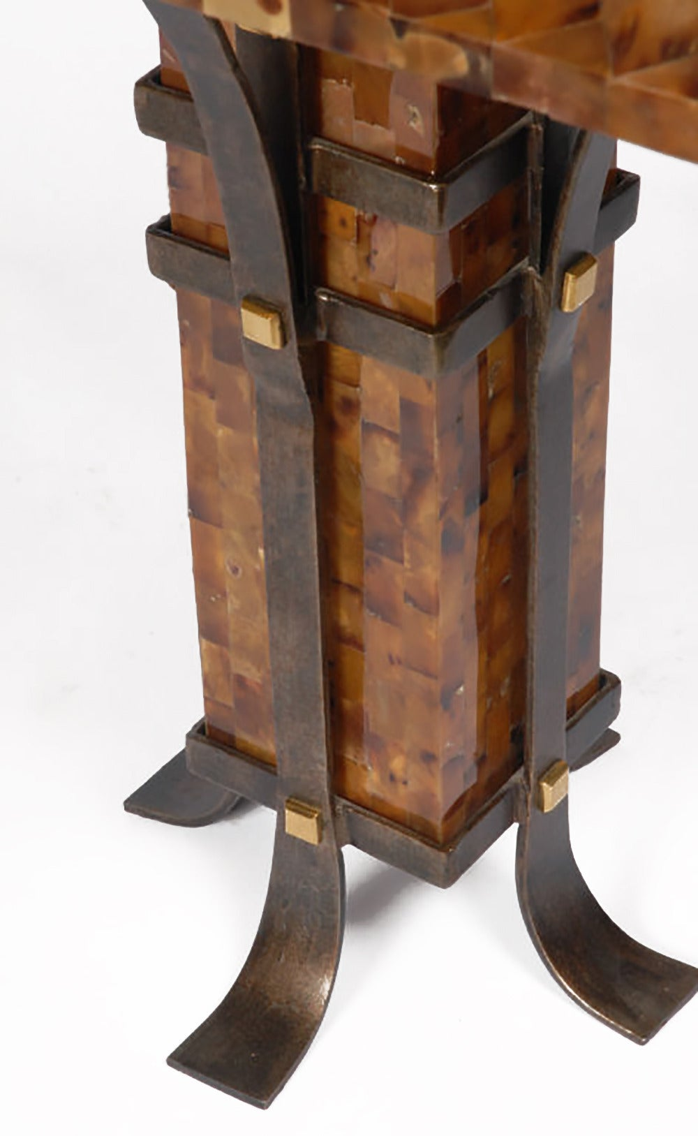 Philippine Pair of Maitland-Smith Tessellated Horn and Iron Table Lamps For Sale