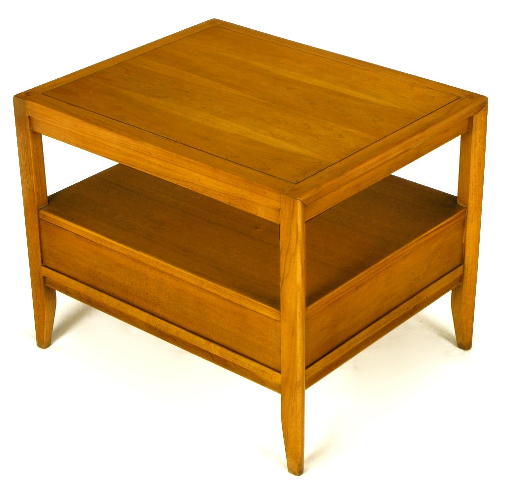 Mid-20th Century Pair of Drexel Bleached Walnut and Mahogany End Tables with Burled Olive Accent For Sale
