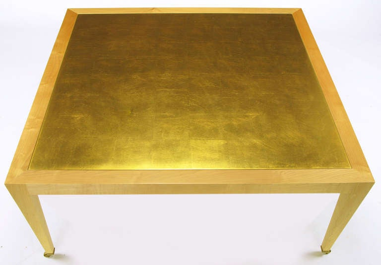Donghia Square Flame Maple and Gold Leaf Coffee Table In Good Condition For Sale In Chicago, IL