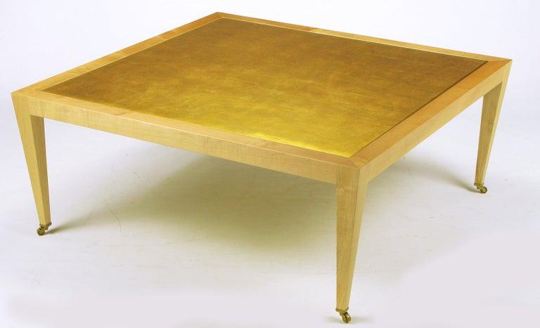 Donghia Square Flame Maple and Gold Leaf Coffee Table For Sale