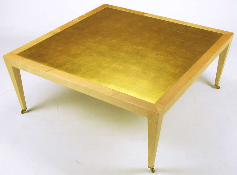 American Donghia Square Flame Maple and Gold Leaf Coffee Table For Sale