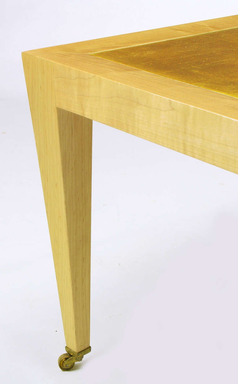 Brass Donghia Square Flame Maple and Gold Leaf Coffee Table For Sale