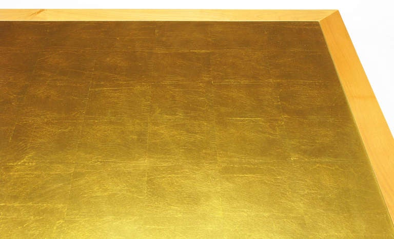Donghia Square Flame Maple and Gold Leaf Coffee Table For Sale 2