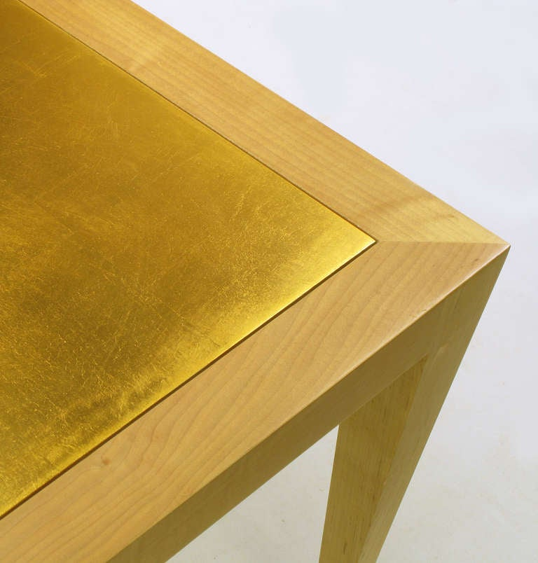 Donghia Square Flame Maple and Gold Leaf Coffee Table For Sale 1