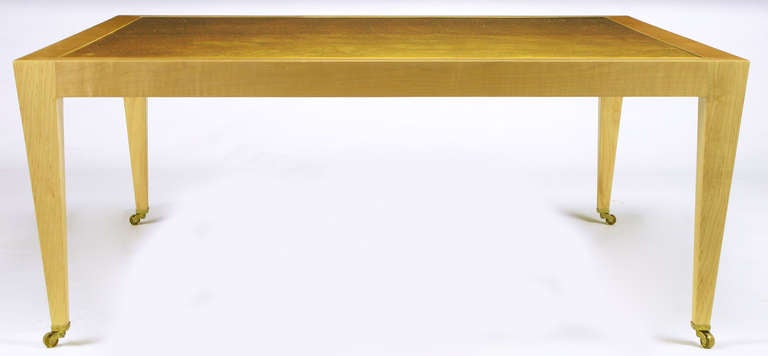 20th Century Donghia Square Flame Maple and Gold Leaf Coffee Table For Sale