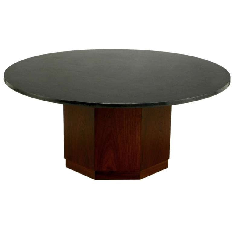 Fred Kemp Walnut And Slate Coffee Table At 1stdibs