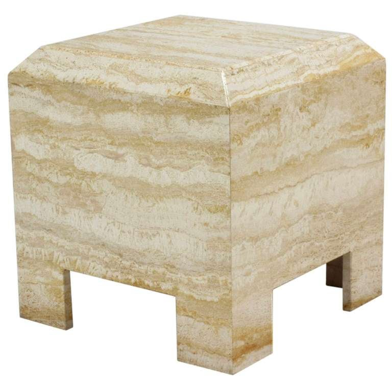 American Custom Travertine End Table For Sale