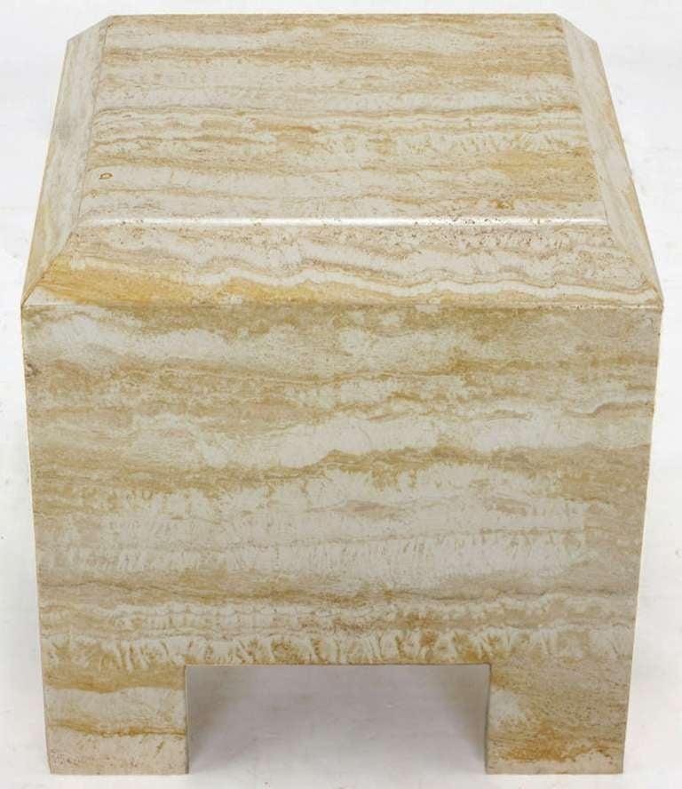 Custom designed heavy all-travertine marble side table with a deep beveled top. Similar in design to work by Milo Baughman for Thayer Coggin. Would make an interesting nightstand as well.