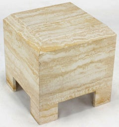 Custom Travertine End Table