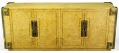 Mastercraft Amboyna Burl and Brass Greek Key Sideboard