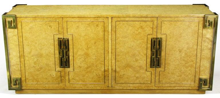 Mastercraft Amboyna Burl and Brass Greek Key Sideboard For Sale