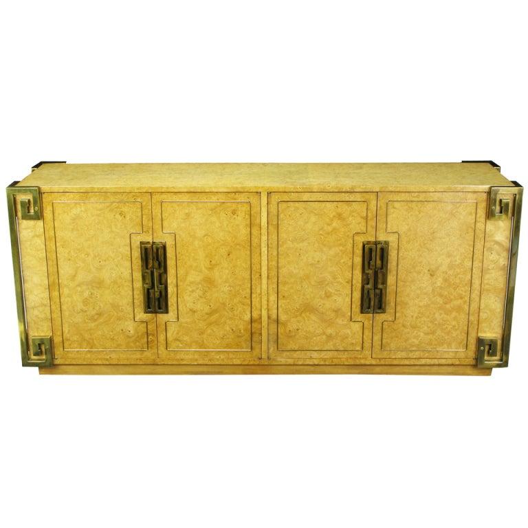 Mastercraft Amboyna Burl and Brass Greek Key Sideboard