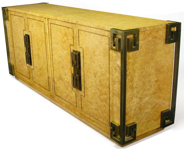 American Mastercraft Amboyna Burl and Brass Greek Key Sideboard For Sale