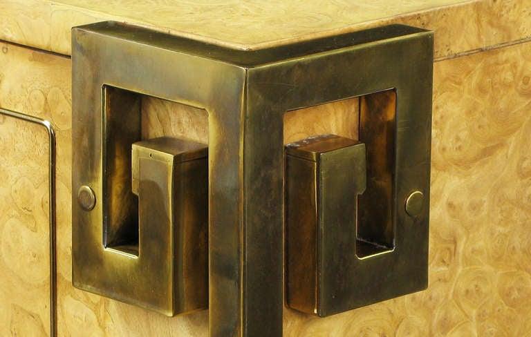Mastercraft Amboyna Burl and Brass Greek Key Sideboard For Sale 1