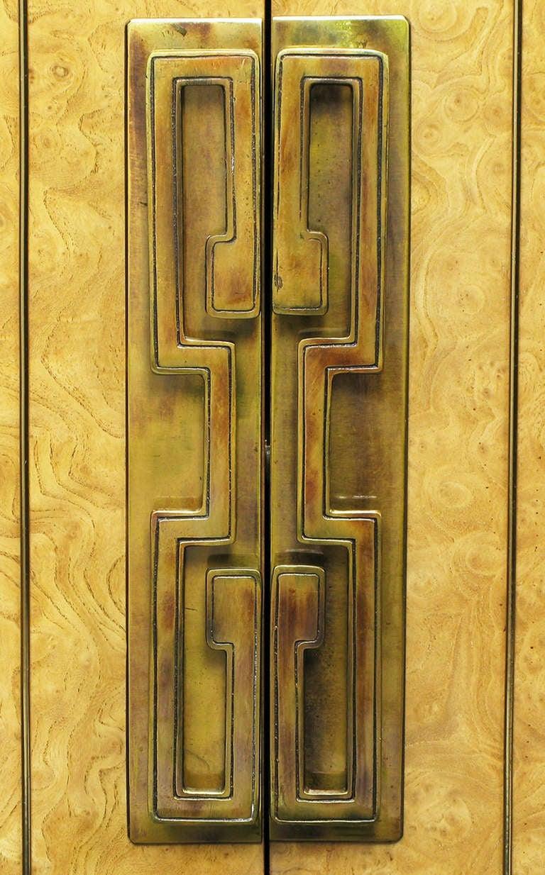 Mastercraft Amboyna Burl and Brass Greek Key Sideboard For Sale 2