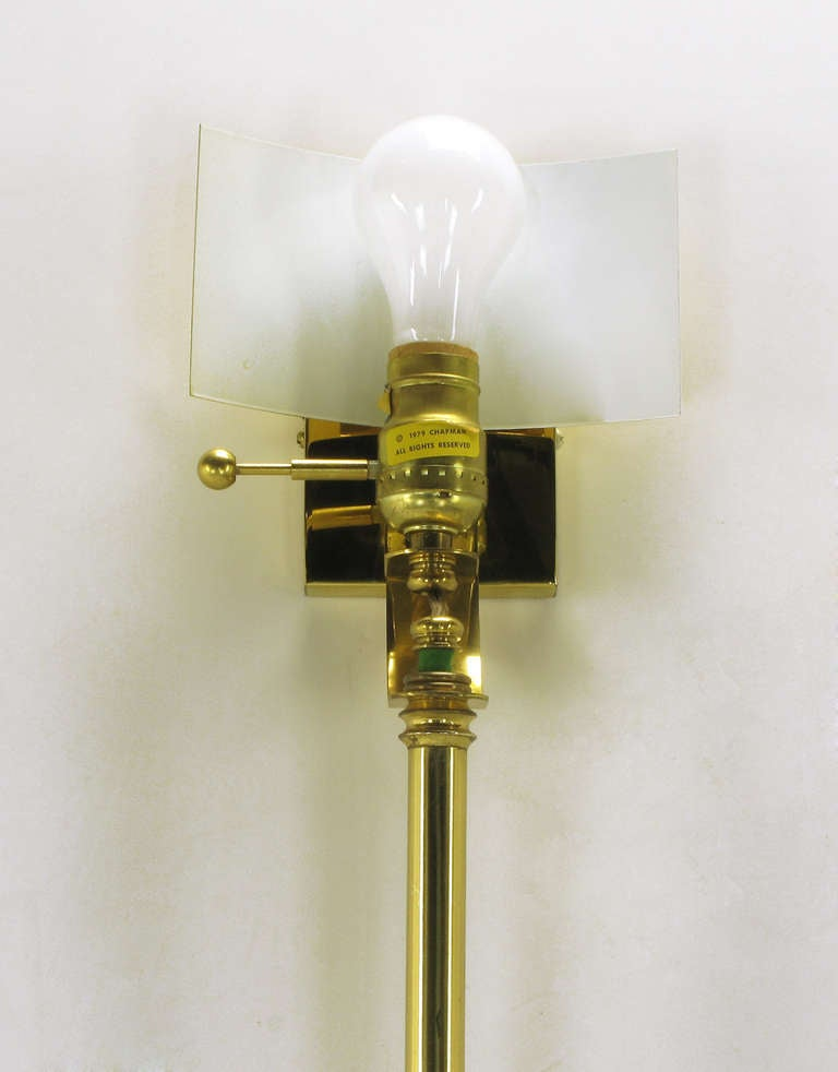 Pair of Chapman Brass Fan Sconces with Bamboo-Form Cord Covers at 1stdibs