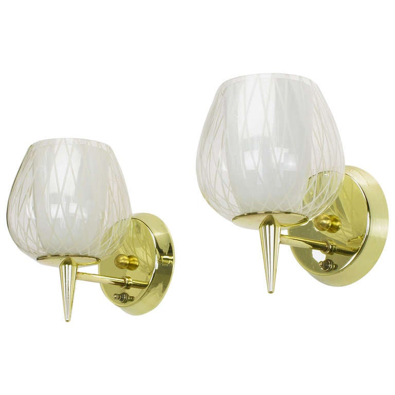 Pair of Gerald Thurston for Lightolier Etched Glass and Brass Sconces