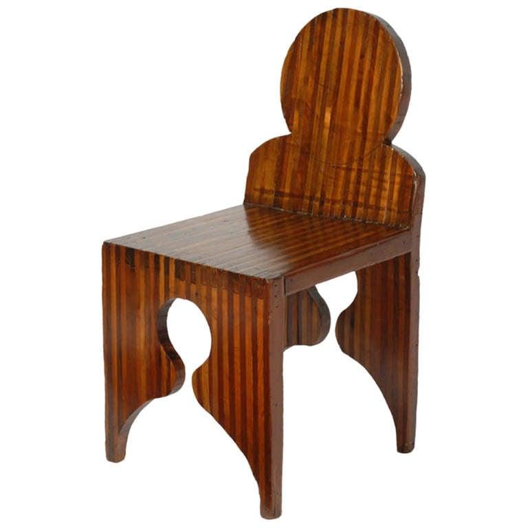 Outsider Artist Mixed Woods Chair Sculpture
