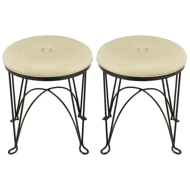 Pair of Round Wrought Iron and Linen Stools in the Style of Salterini For Sale