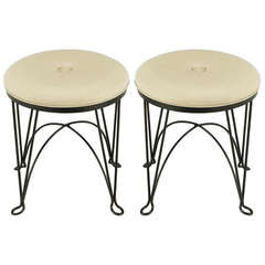 Pair of Round Wrought Iron and Linen Stools in the Style of Salterini