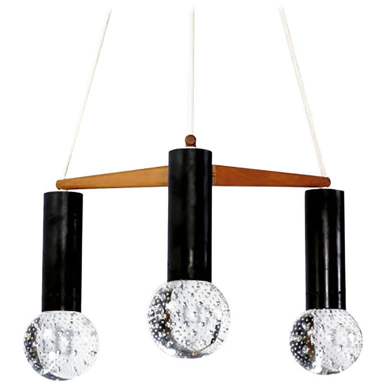 Three Light Seguso Solid Glass Spheres Chandelier 1
