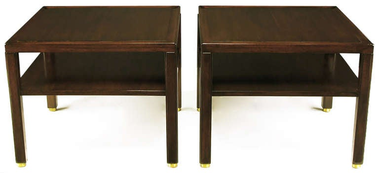 American Pair of Edward Wormley Mahogany End Tables with Brass Feet For Sale