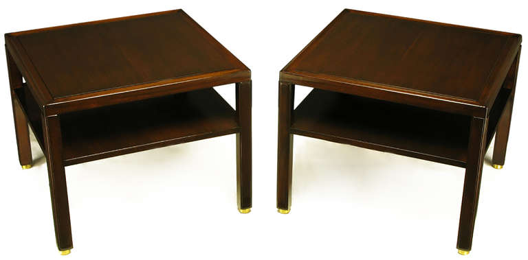 Pair of Edward Wormley Mahogany End Tables with Brass Feet 2