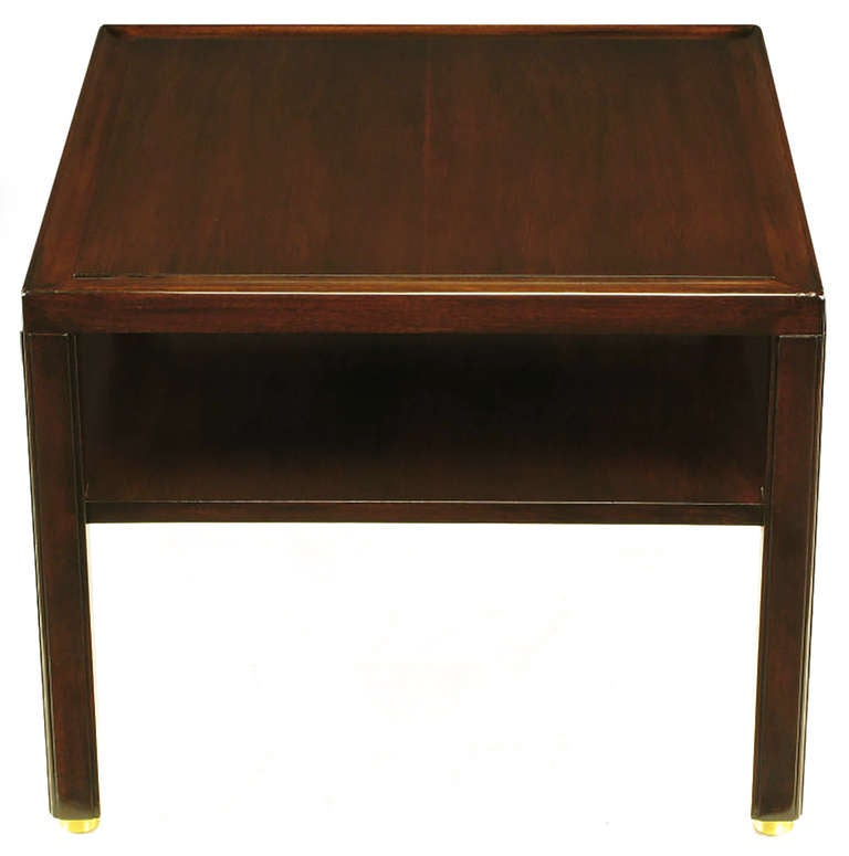 Pair of Edward Wormley Mahogany End Tables with Brass Feet In Good Condition For Sale In Chicago, IL
