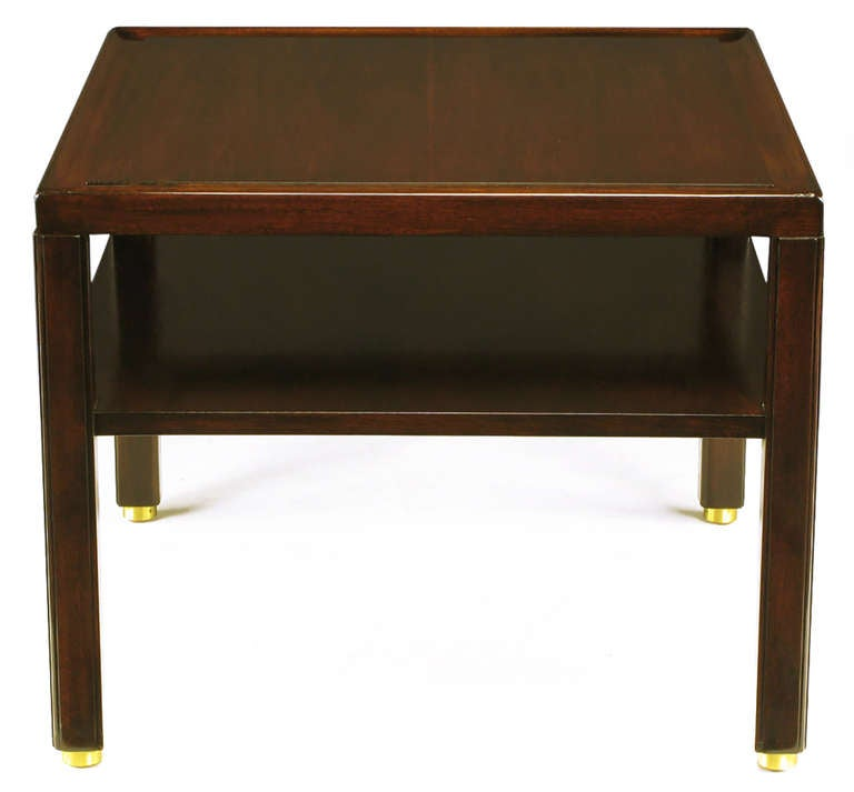 Mid-20th Century Pair of Edward Wormley Mahogany End Tables with Brass Feet For Sale