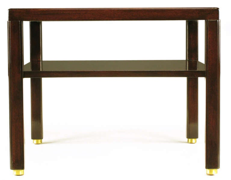 Pair of Edward Wormley Mahogany End Tables with Brass Feet 6